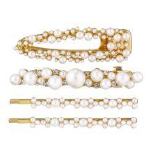 4Pcs/Set Retro Palace Alloy Golden Hair Clip Imitation Pearl Rhinestone Barrette