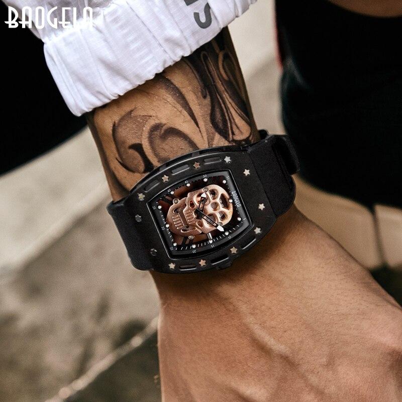 Baogela Pirate crâne Style hommes montre Silicone lumineux Quartz montres militaire étanche squelette montre bracelet pour homme-in Quartz Watches from Watches