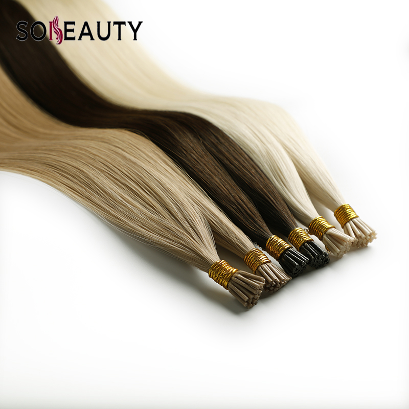 Sobeauty 50pcs/Pack Remy Hair I Tip Hair Extension Fusion Keratin Blonde Hair Human Hair Extensions European Silky Straight Hair