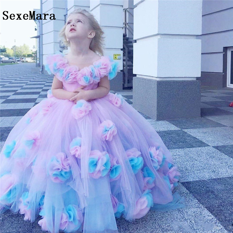 Cute Ball Gown Flower Girl Dresses For Wedding 3D Flowers Girls Clothes Pageant Gowns Sweep Train Kids Birthday Party Dress Custom Made Any Size
