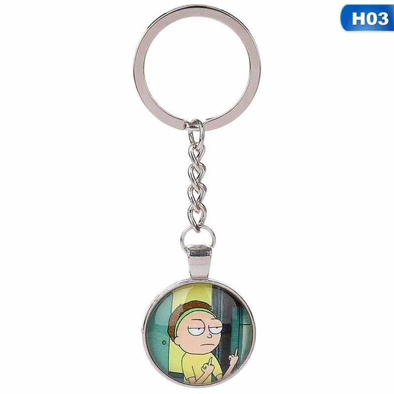 Komik Rick ve Morty Metal anahtarlık karikatür şekil resim cam kubbe kolye sevimli renk el yapımı anahtar zincirleri tutucu oyuncak