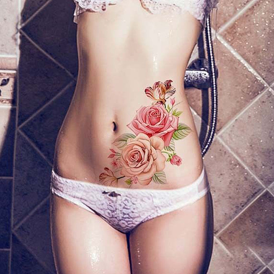 1Pcs Big Size Rose Flowers Temporary Tattoos Stickers Sexy Women Arm Shoulder Body Waterproof Flash Tattoo Stickers