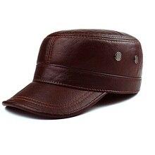 ผู้ชายหนังแท้หมวกผู้ใหญ่ใหม่ Cowhide ชายกลางแจ้งหนังแบนหมวกฤดูหนาวสบายๆหนังหมวกปรับ B 8386
