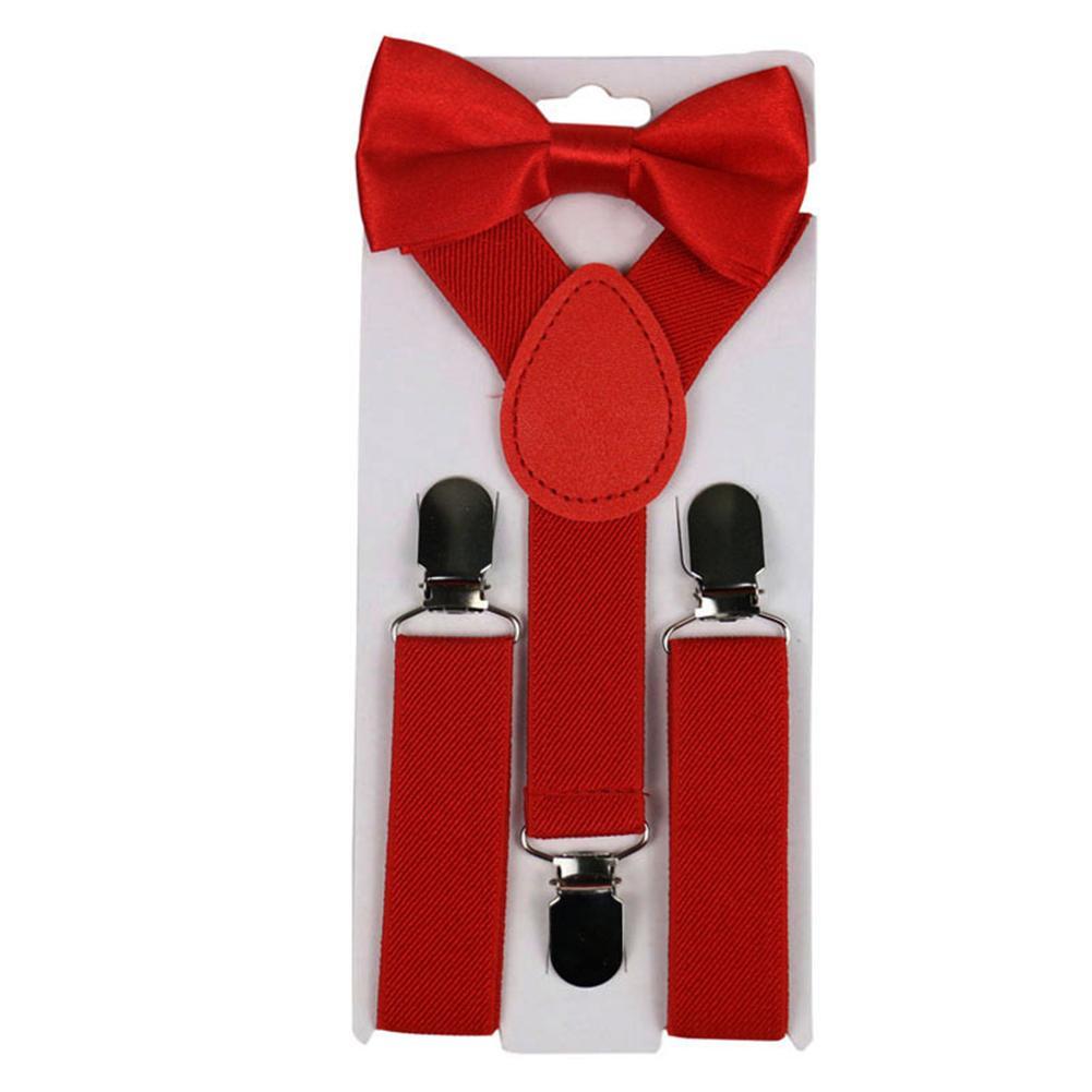 2Pcs/Set Solid Color Kids Boy Girls Clip-ons Y-Shape Elastic Suspenders Bowtie Suspenders Y-Shape Pre-tied Bow Suspenders Hot 20