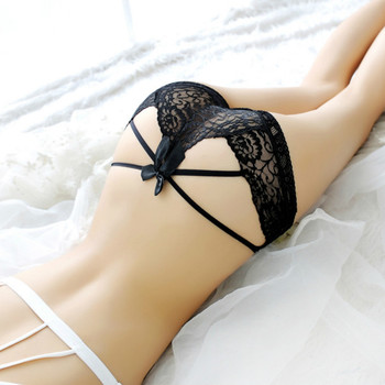 Sexy lingerie Erotic Panties for Women Lace Bow Briefs G-String Low Waist Sexy Hollow out Bandage Transparent Thong Underwear 2019 new women sexy thongs lace transparent hollow light sexy underwear for adults erotic lingerie g string sexy panties for sex