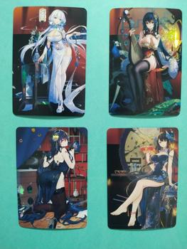 4 sztuk zestaw Azur Lane Cheongsam zabawki Hobby Hobby kolekcje kolekcja gier Anime tanie i dobre opinie TAKARA TOMY Q973 8 ~ 13 Lat 14 Lat i up 2-4 lat 5-7 lat Chiny certyfikat (3C) Zwierzęta i Natura Fantasy i sci-fi
