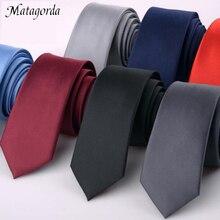 Роскошный 1200 иголок 6 см сплошной цвет тощий галстук мужчины формальные платья акк шелк свадебный бизнес галстук черный красный тонкий Гравате