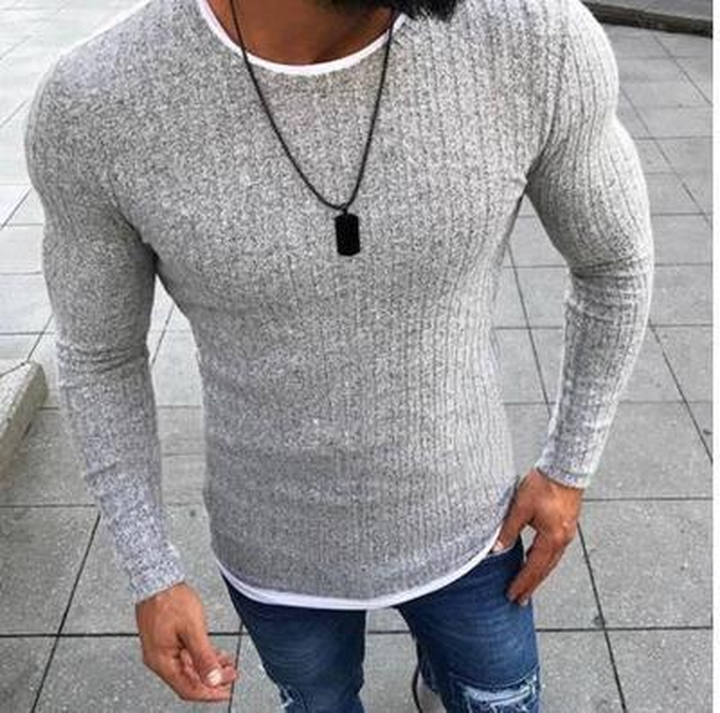 2019 Men's Autumn Sweater Solid Color Knitted Pullover Thin Sexy Skinny Sweaters O-Neck Slim Fit Pullovers Plus Size