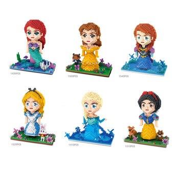 Горячие сказки принцесса микро алмаз блок Русалка Белоснежка Золушка Ариэль Королева Анна Эльза, Белль Ариэль nanobrick игрушки