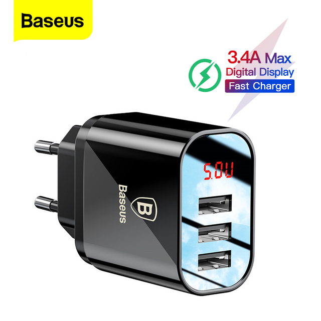 Baseus 3.4A LED Display USB Phone Charger For iPhone Samsung Mobile Wall Charger 3 USB Ports Charger For Xiaomi OnePlus Huawei