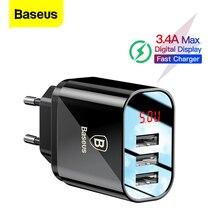Baseus 3.4A wyświetlacz LED ładowarka USB do telefonu iPhone Samsung mobilna ładowarka ścienna 3 porty USB ładowarka do Xiaomi OnePlus Huawei