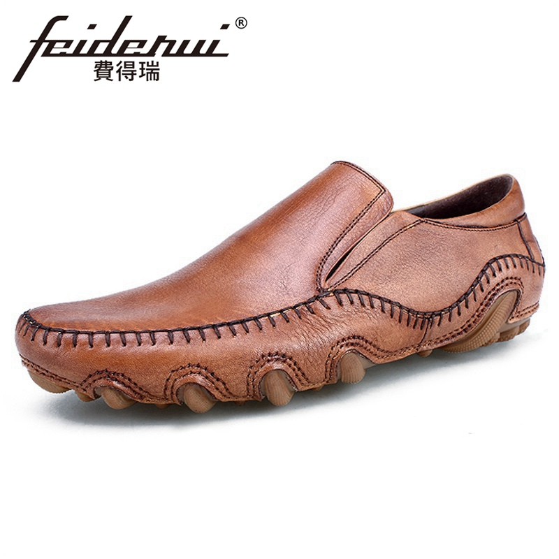 Summer Breathable Men Casual Loafers Round Toe Slip-on Handmade Man Flats Genuine Leather Comfortable Driving Shoes HQS389