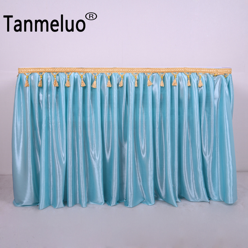 Tanmeluo Pleated Table Wedding Party Skirt for Event Decoration Birthday Parti Tablecloth Cover Stage Skirting with Tassel Beads