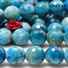 ONEVAN Natural Blue Apatite Faceted Stone 10mm Smooth Loose Round Beads Diy Bracelet Necklace Jewelry Making Beaded Gift Design