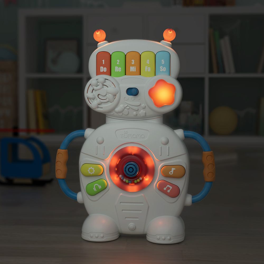 Tumama Musical Toys For Baby  Robot Piano Music Light Toys 0-12  Educational  Toy Kids  Multifunctional Musical Instruments
