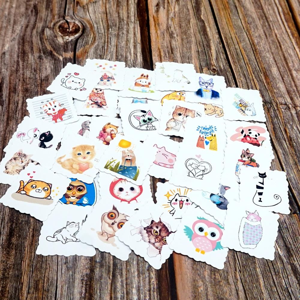 35pcs Waterproof Stickers Lovely Cartoon Animals Diary Decorative Stationery Sticker Car Laptop Phone Pad Bicycle Decal Stickers