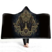 Mandala Buddha Hooded Blanket 3D Printed Plush For Adults Kids Sherpa Fleece Microfiber Warm Throw Home Sofa