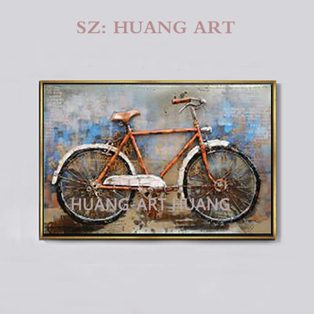 Hand-drawn original high quality bike painting knife painting on the canvas painting bike household to decorate the wall of the