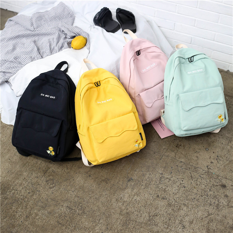 Women's Bag Travel Backpack Harajuku Sunflower Embroidery School Backpack Student College Leisure Bag Kawaii Backpack Letter image