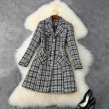Designer Coat Winter Women's Tweed Fall Plaid Notched-Collar High-Street