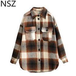 NSZ women plaid wool blouse long sleeve checked oversized woolen shirt turn down collar thick ladies vintage chic top blusa
