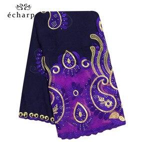 Image 3 - 2020 последняя африканская Женская шаль 100% хлопок мусульманский шарф Вышивка Сращивание с сеткой мусульманский шарф больших размеров для шали EC229