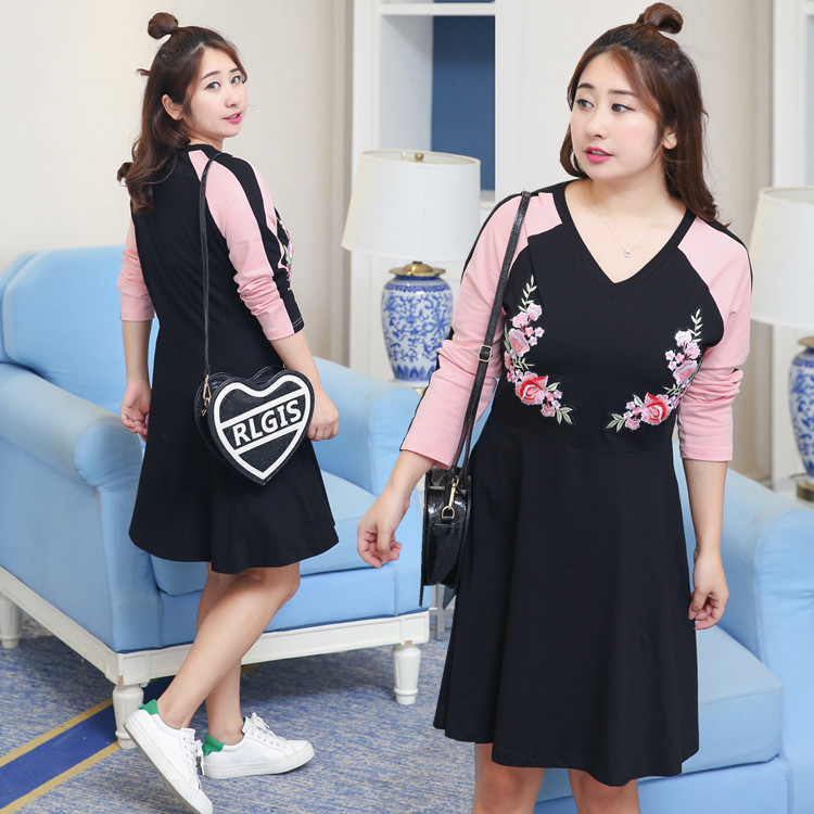 Sold Out Lower Rack! S Get Fat Mm Plus-sized WOMEN'S Dress 2019 Autumn Clothing Embroided Dress Wholesale 0768