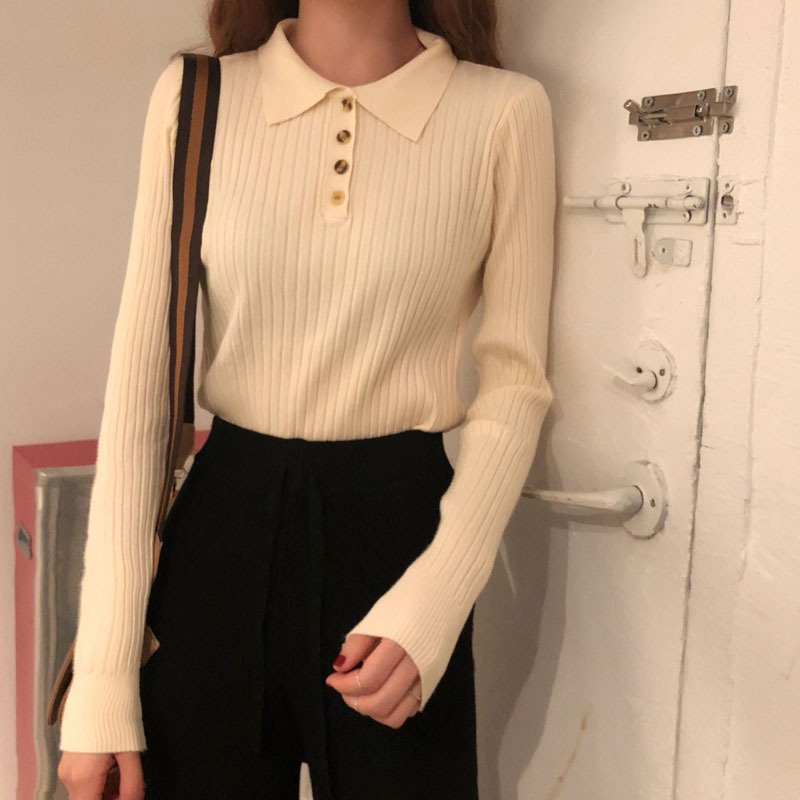 Women Fashion Casual Slim Long-sleeve Solid Sweater Girl Preppy Style Lapel Single-breasted Knit Pullover