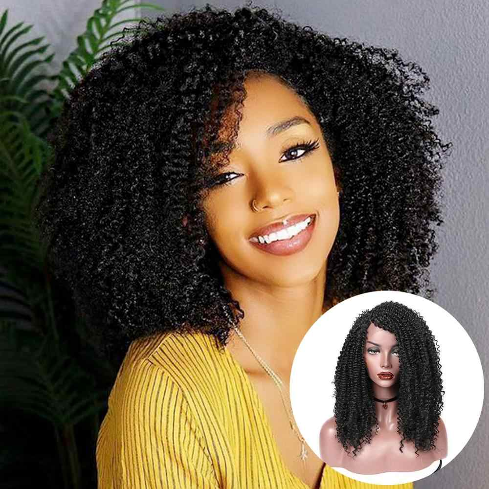 Wignee Side Part Lace Front Synthetic Wigs For Women Afro Kinky Curly Hair Heat Resistant Natural Black/Brown Cosplay Hair Wigs