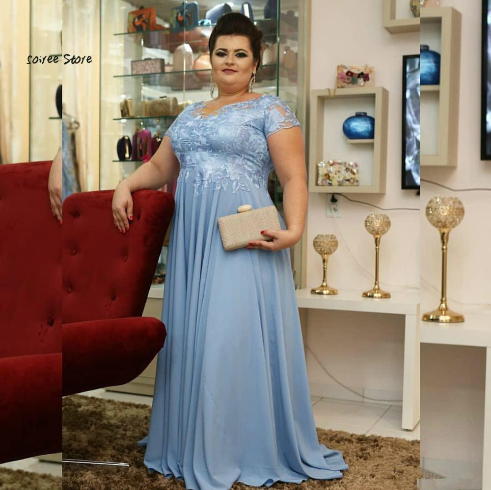 Elegant Plus Size Mother Of The Bride Dress Sky Blue Short Sleeves Lace Floor Length Chiffon Women Formal Groom Mom Party Dress Mother Of The Bride Dresses Aliexpress
