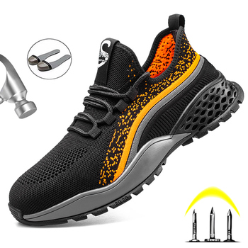 2020 New Design Work Sneakers For Men Steel Toe Work Safety Boots Men Construction Indestructible Shoes Breathable Male Shoes