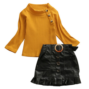 Toddler Kids Baby Girls Clothes Long Sleeve Pullover Sweater Tops Button PU Leather Ruffles Skirts 2pc Children Girls Outfits 1