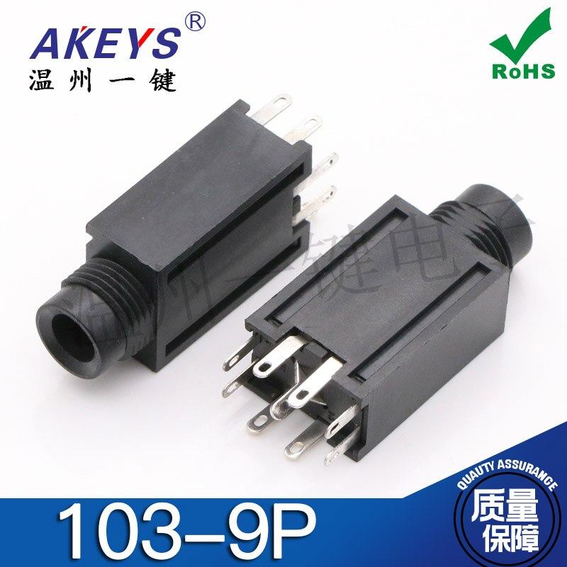 Microphone-Mixer Interface Audio In-Line 103-9p 10pcs Headphones-Jack Vertical Female-Connector-9-Foot