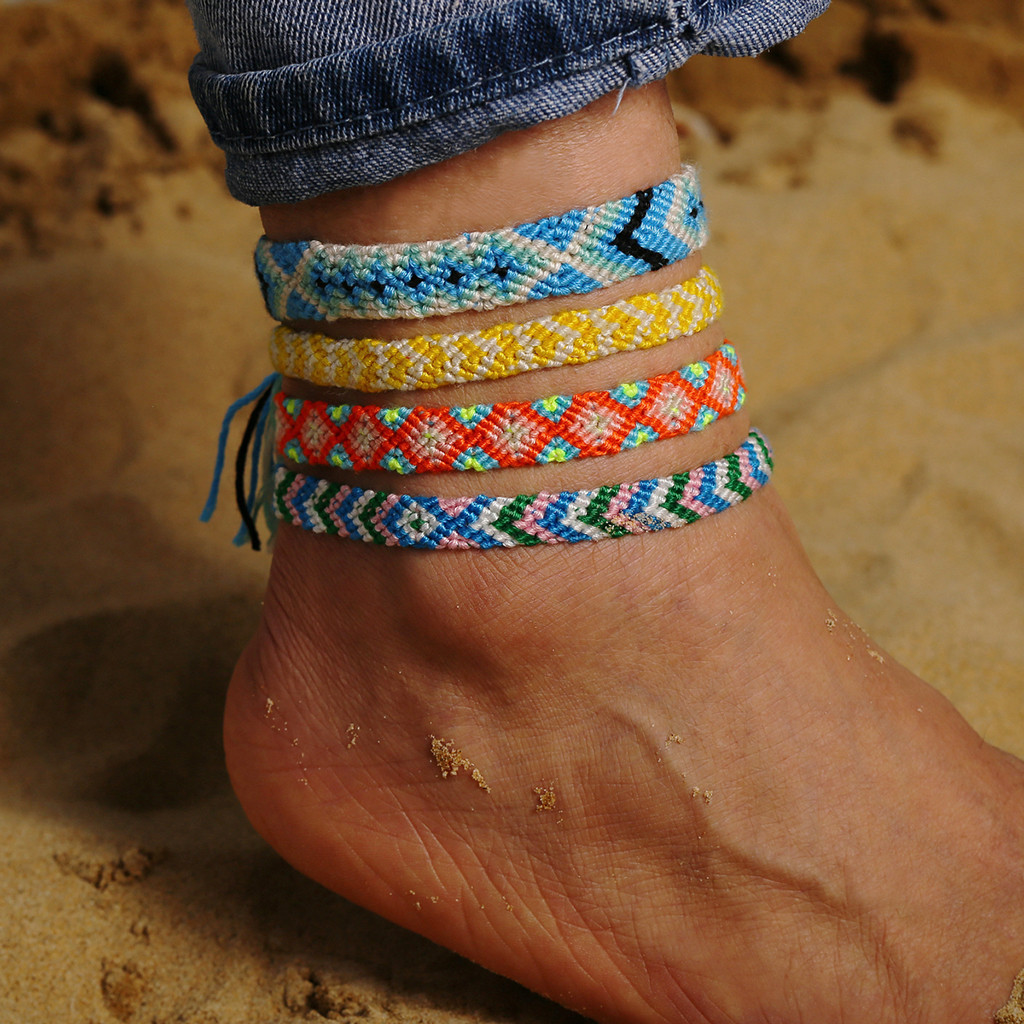 Women Personality Bohemian Handwoven Rope Multicolor Anklet Ladies Jewelry Gift Anklets Ankle Bracelet dropshipping wholesale