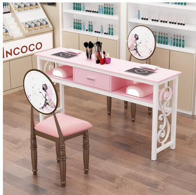 Купить с кэшбэком Net Red Nail Table Chair Set Special Deals Economical Nail Table Single Double Chair Simple Decoration