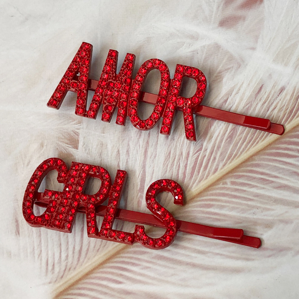 AMOR//PARTY//GIRLS Letters Crystal Hairpins Red Rhinestones Hair Metal Barrettes