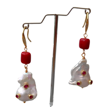 Freshwater Cultured White Keshi Pearl Red Coral Dangle CZ Pave Hook Earrings Women Jewelry