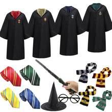 Детский Взрослый костюм на Хэллоуин Поттеры Волшебная школа Ravencalaw Slytherin пуффендуй халат свитер галстук палочка Грейнджер