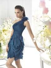 Современное короткое шифоновое платье ручной работы с цветами