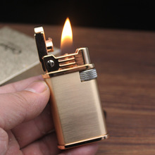 Retro Trench Copper Flint Lighter Brass Metal Flint Gadgets Kerosene Oil Gasoline Lighter Gas Grinding Wheel Cigarette Cigar Men zorr lighter gasoline lighter kerosene oil petrol lighter refillable cigarette metal retro men gadgets bar lighters