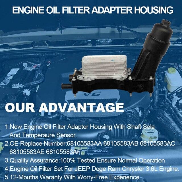 Engine Oil Filter Adapter Housing For Chrysler Dodge Charger Durango Grand Caravan Jeep Wrangler Cherokee  3.6L 3.2L 68105583AF 2