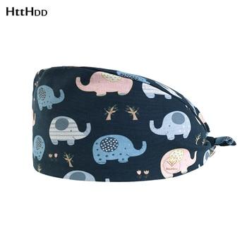 htthdd ashion Cute baby elephant print  hat adjustable Scrub hats beauty salon nursing cap laboratory pet shop fashion scrub