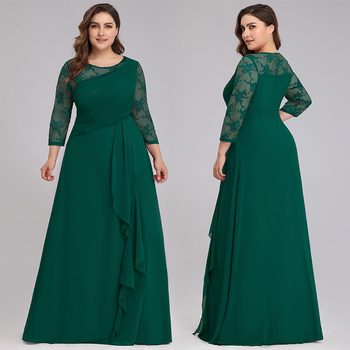 Elegant Plus Size Evening Dresses For Women A-Line O-Neck 3/4 Sleeve Cheap Lace Evening Gowns For Party Vestidos De Fiesta Largo 2