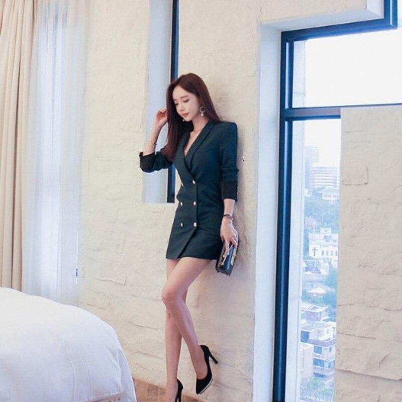 Office Lady 2020 New Double Breasted Long Blazers Women Korean Slim Long Sleeve Suits Female Fashion Elegant Blazers Plus Size