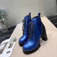 Модные женские ботинки из натуральной кожи на платформе и толстом каблуке; обувь на высоком каблуке; кожаные ботинки высокого качества; ботильоны для девочек