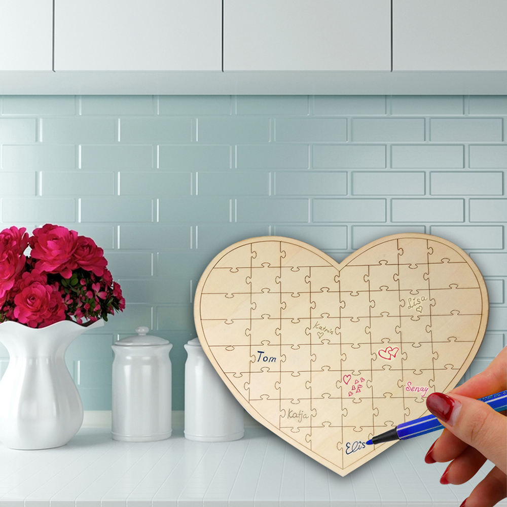 New Wedding Decoration Wedding Wooden <font><b>Guest</b></font> <font><b>Book</b></font> Fedding-Bottle Heart Shape <font><b>Puzzle</b></font> for <font><b>Guest</b></font> Individuation Wedding Supplies image