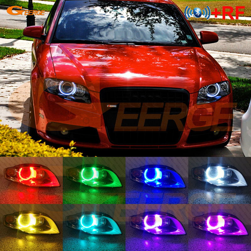 RF Remote Bluetooth APP Multi-Color Ultra Bright RGB LED Angel Eyes DRL For Audi A4 S4 RS4 B7 2004 2005 2006 2007 2008 2009