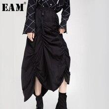 [EAM] высокая эластичная талия черная Асимметричная плиссированная темпераментная юбка средней длины женская модная новинка весна осень 1H205