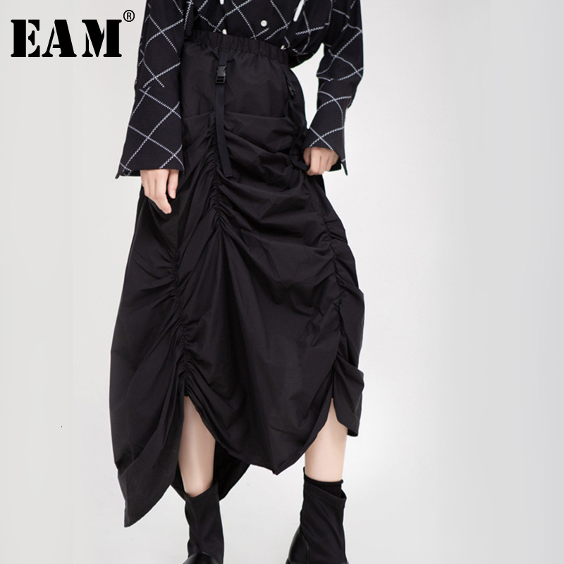 [EAM] High Elastic Waist Black Asymmetrical Pleated Temperament  Half-body Skirt Women Fashion Tide New Spring Autumn 2020 1H205
