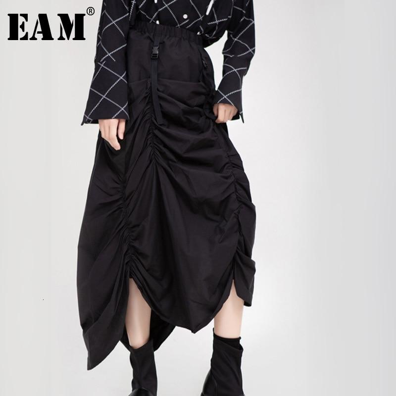 [EAM] High Elastic Waist Black Asymmetrical Pleated Temperament  Half-body Skirt Women Fashion Tide New Spring Autumn 2020 1H205